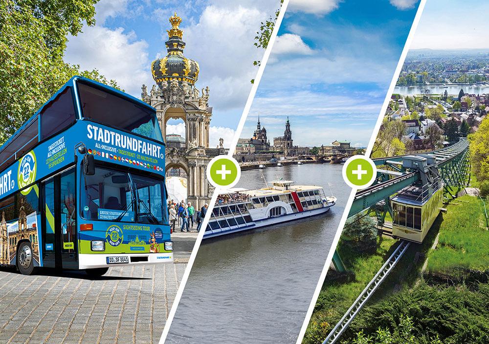 Die Große Entdeckertour - Mit Doppeldeckerbus, historischen Raddampfer und Bergbahn durch Dresden