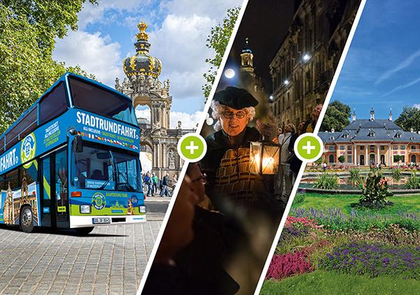 Große Stadtrundfahrt Dresden - Tagesticket Hop on Hop off 22 Haltestellen